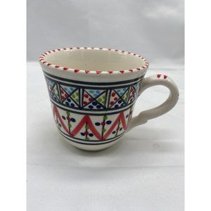 Red and Multi-color Hand Painted Ceramic Tunis Mug
